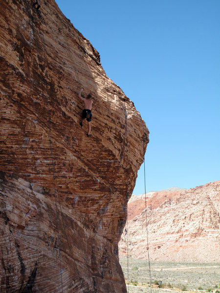 top roping Save the Heart to Eat Later on the Cannibal Crag in Red Rocks