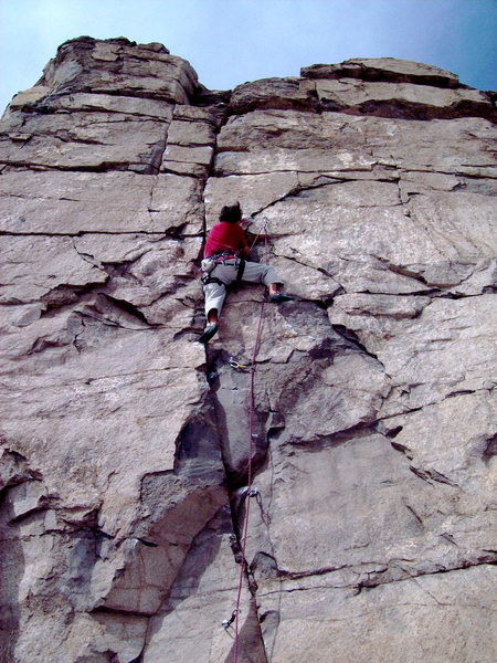 Rock Climbing Photo: BH on FA of Sunrise, 5.11a.