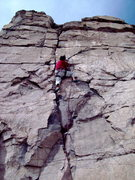 Rock Climbing Photo: BH on FA of Sunrise, 5.11a.