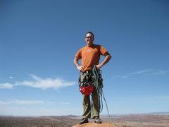 Rock Climbing Photo: Todd - off balanced rock topout (the PG version)