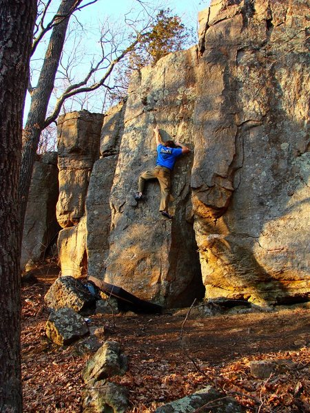 Rock Climbing Photo: Jay on the scrubbin ascent.  April 09.