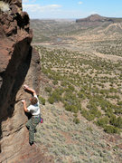 Rock Climbing Photo: Finishing up the route going from the last bolt to...