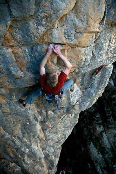 Me leading Lunatic (22***) at Mt Arapiles, Victoria. Photo: Steve Bright