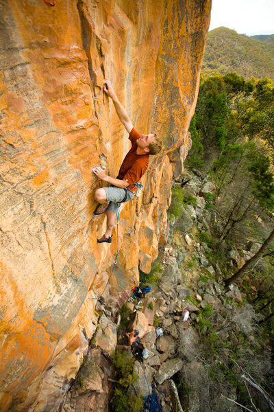 "Me leading a new route ""Shaken, Not stirred"" (23**) at Redmans Bluff, The Grampians. Victoria. Photo: Neil Monteith"