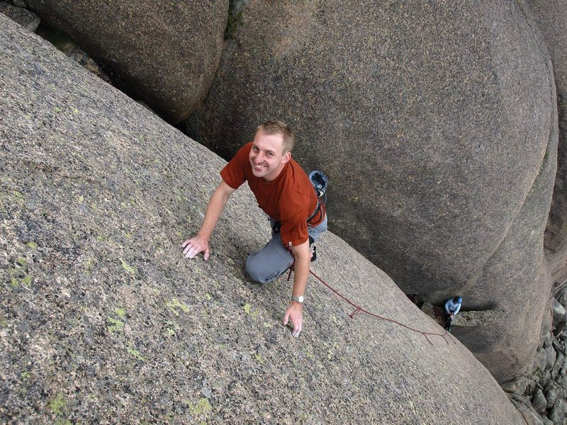 "Rock Climbing Photo: Me leading ""Run Free with the Bluffalo"" ..."