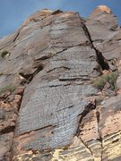 Rock Climbing Photo: The upper pitches of Armatron. A river of varnish.