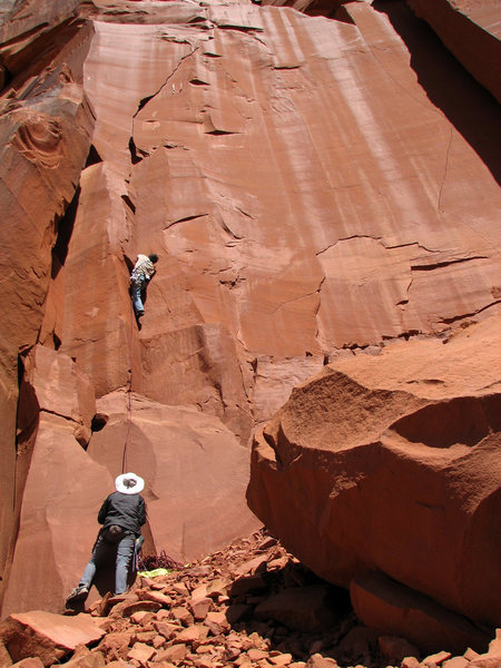 Rock Climbing Photo: Bill starting up a good warm-up 5.10, unsure of th...