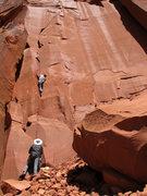 Rock Climbing Photo: Bill starting up a good warm-up 5.10, unsure of th...