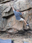 Rock Climbing Photo: The crux of the traverse is lowering down to the E...