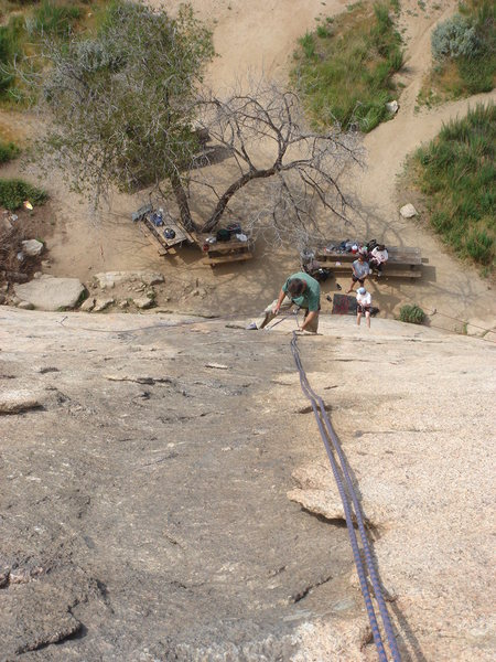Rock Climbing Photo: Rapping the Trough.  The people on the ground are ...