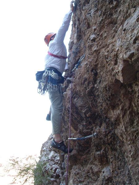 Rock Climbing Photo: Cruxy between 2nd and 3rd bolt!
