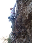 Rock Climbing Photo: Cruxy between 2nd and 3rd bolt!