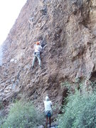 Rock Climbing Photo: Above the 3rd bolt.  Eases off a bit from there.