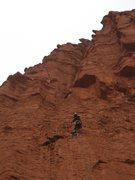 Rock Climbing Photo: Jer moving onto lead P1b.