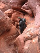 Rock Climbing Photo: Descending into some slot after fixing the first &...
