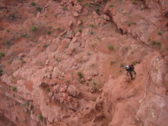Rock Climbing Photo: Looking down at Jeremy cleaning pitch 3
