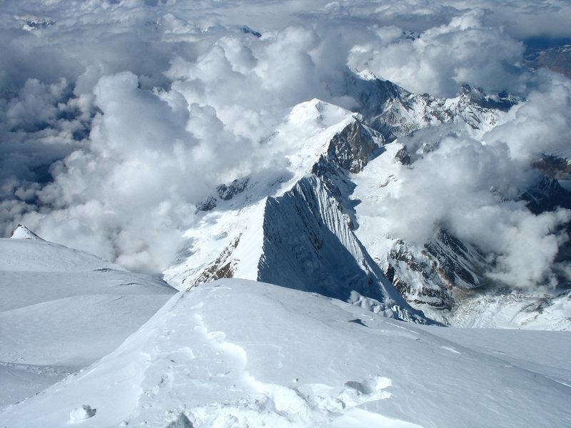 Rock Climbing Photo: North Manaslu below, from near the summit 8,163m