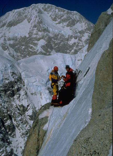 Carl Tobin & Joe Terravecchia on the Moonflower 3rd icefield bivy. Late May, 1997.<br> Charlie Townsend photo.