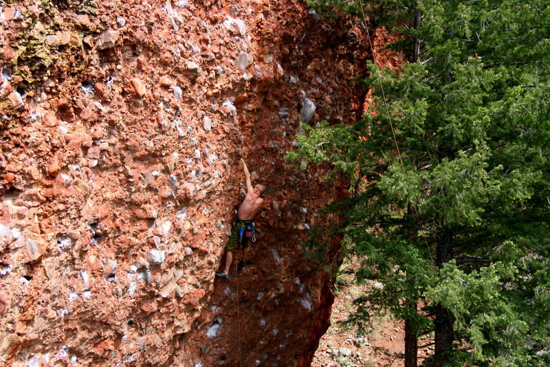 Rock Climbing Photo: Unknown climber self-belaying.