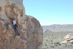 Rock Climbing Photo: Tony before the third and final bolt.