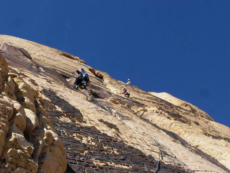 Climbers enjoy the Solar Slab.