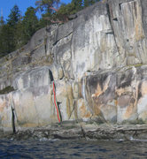 Rock Climbing Photo: View of south side of moss mountain. Hat Trick in ...