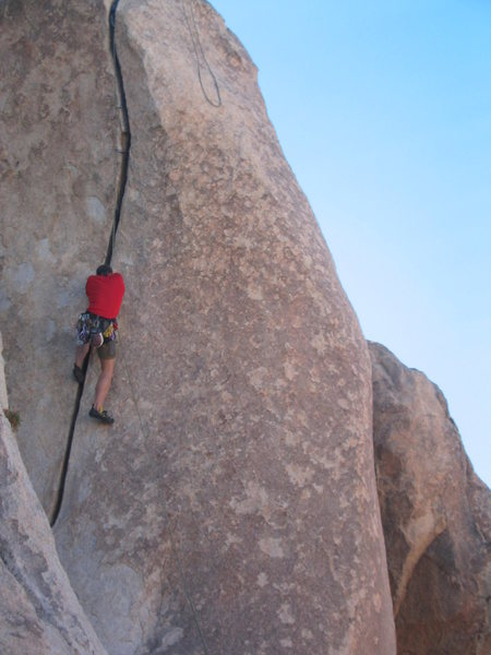 Hogan on Fisticuffs (5.10b), an offwidth in the Real Hidden Valley.