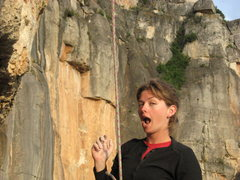 Rock Climbing Photo: belay at little siurana