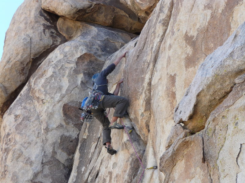 Rock Climbing Photo: The first crux of the climb. Pic by Kris Solem.