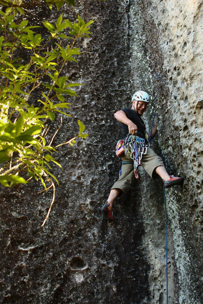 Bryce getting started on his route Gunga Din, some 30 years later.