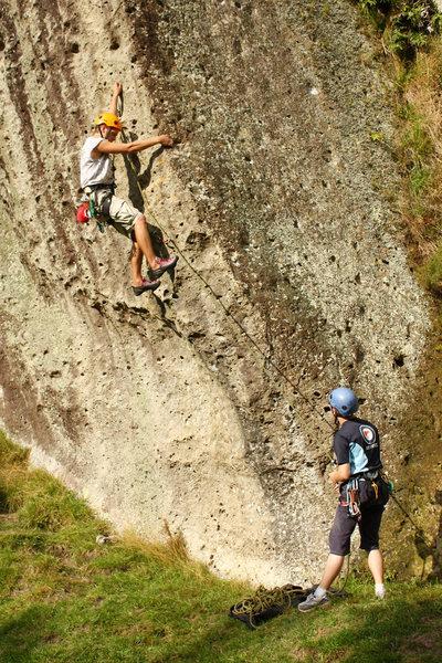 Rock Climbing Photo: Danny getting started on Cowabunga
