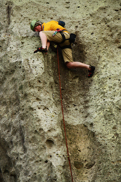 Rock Climbing Photo: The last few moves of Serife