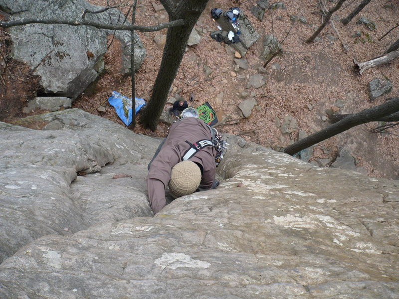 Rock Climbing Photo: Chris Keller leading Curving Crack   photo by: Joh...