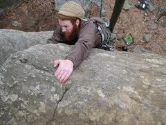 Rock Climbing Photo: Chris Keller topping out on Curving Crack  photo b...