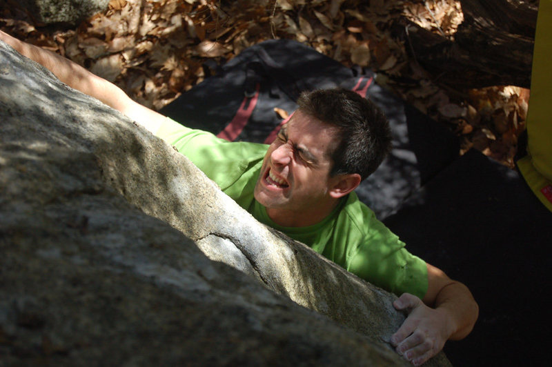 Rock Climbing Photo: Without skin, even the first move hurts.