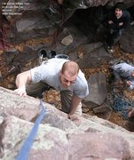 Rock Climbing Photo: Carl Sherven cleans up