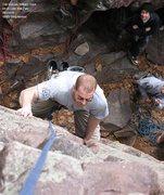 Rock Climbing Photo: Carl Sherven cleans up
