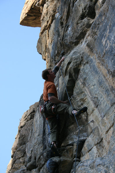 Rock Climbing Photo: Setting up for the crux dyno.  You can see the cha...