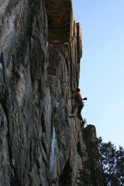 Pumped and falling off the middle headwall crux.