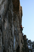 Rock Climbing Photo: Pumped and falling off the middle headwall crux.