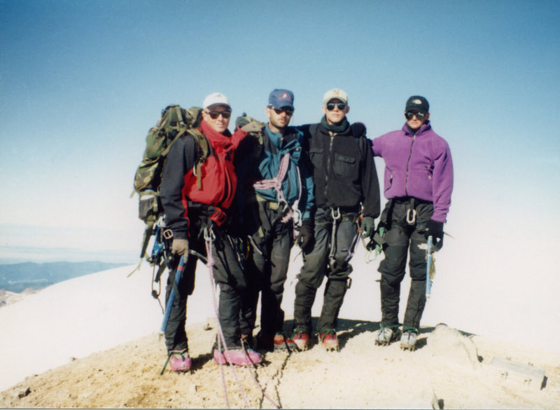 Summit of Baker.  MWTC instructors. Eric, Willy ,me and Dave. 1995