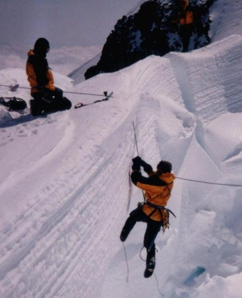 Kicking out of a slot near Camp Muir, Mt Rainier. Training for Denali 1997