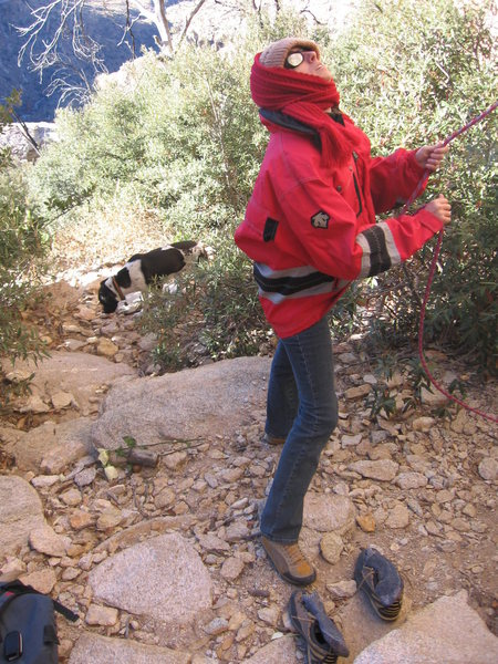 My girlfriend belaying.  It was a little cold and really windy.  I had to cook dinner that night.