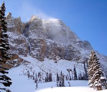 Rock Climbing Photo: Cold winds buffet the NF of Thatchtop as spindrift...