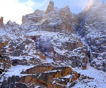 Rock Climbing Photo: Thatchtops NF on 4/5/09 showing the NE gully route...