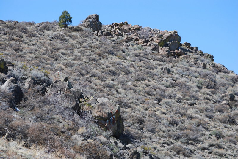 A view of the look out boulder and the team disaster boulders above. (left side of the ravine)