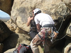 Rock Climbing Photo: Chad tying me in for Route of All Evil (5.7)