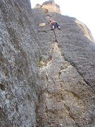 Rock Climbing Photo: First pitch. 5.9. Liebacks and crack climbing tech...