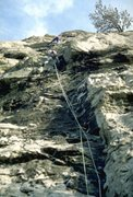 Rock Climbing Photo: Well into the initial groove of Lyme Cryme, 5.10d
