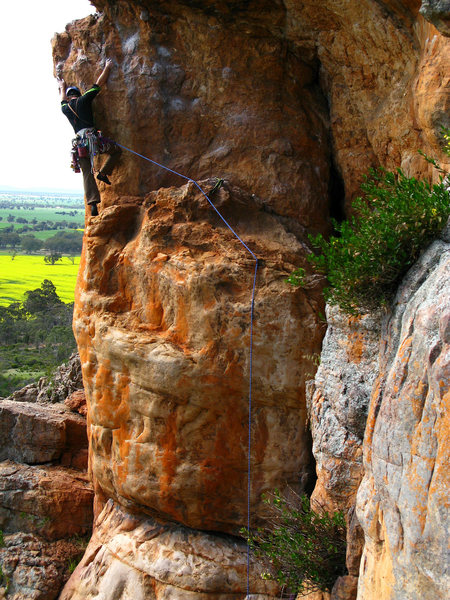 Rock Climbing Photo: Joss working out the tricky crux moves.